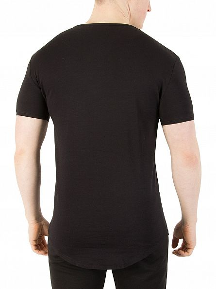 Sik Silk Black Curved Hem Logo Gym T-Shirt