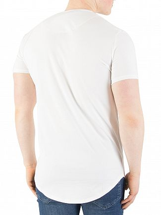 Sik Silk White Curved Hem Logo Gym T-Shirt