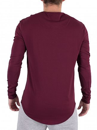 Sik Silk Burgundy Longsleeved Curved Hem Logo Gym T-Shirt