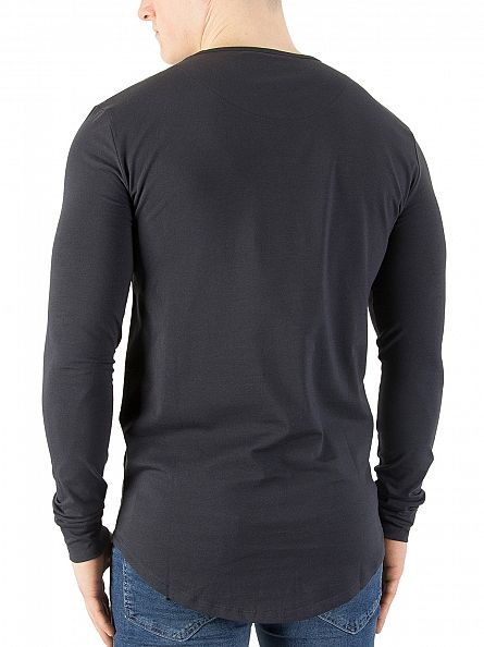 Sik Silk Navy Longsleeved Curved Hem Logo Gym T-Shirt