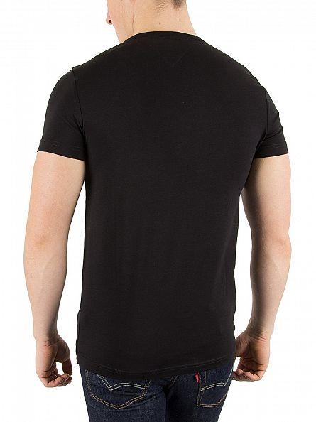 Tommy Hilfiger Flag Black Slim Fit Stretch Logo T-Shirt