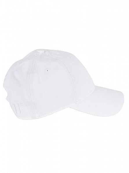 11 Degrees White Script Pitcher Logo Cap