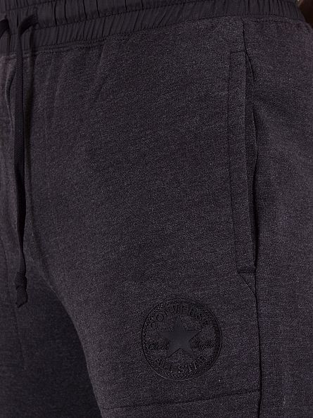 Converse Black Heather Woven Detail Fleece Logo Joggers