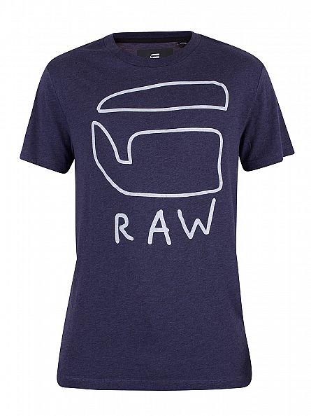 G-Star Sartho Blue Heather Brons Graphic T-Shirt