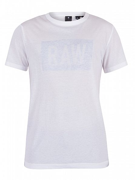 G-Star White/Lt Wave Crostan Faint Graphic T-Shirt