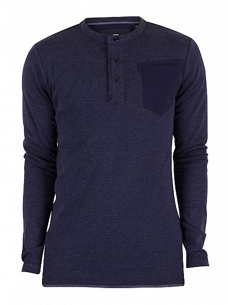 G-Star Sartho Blue Slim Fit Longsleeved Granddad Pocket T-Shirt