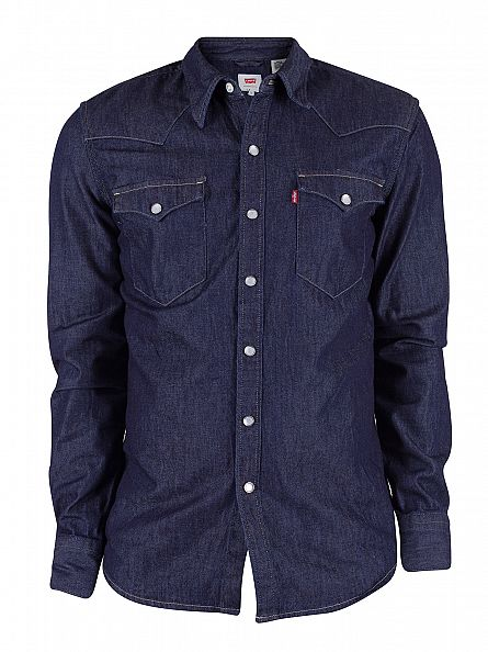 Levi's Dark Denim Barstow Western Red Cast Rinse Shirt