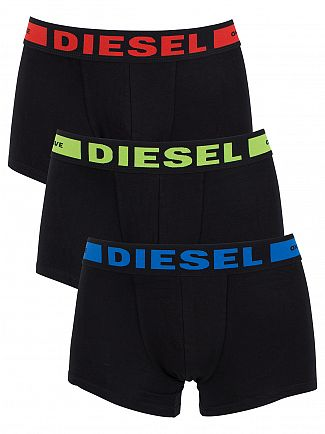 Diesel Black 3 Pack Seasonal Boxer Logo Trunks