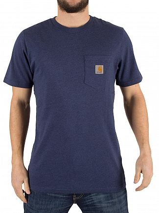 Carhartt Wip Blue Heather Jersey Logo Pocket T-Shirt