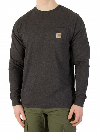 Carhartt WIP Black Heather Longsleeved Marled Pocket Logo T-Shirt