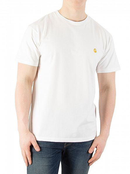 Carhartt WIP White/Gold Loose Fit Chase Logo T-Shirt