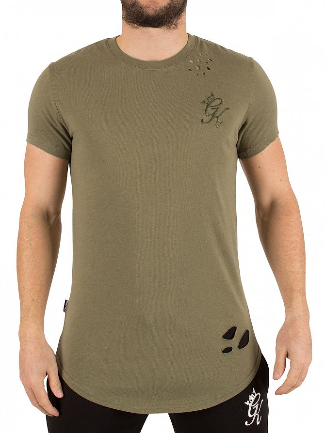 Gym King Burnt Olive Distressed Long Line Curved Hem Logo T-Shirt