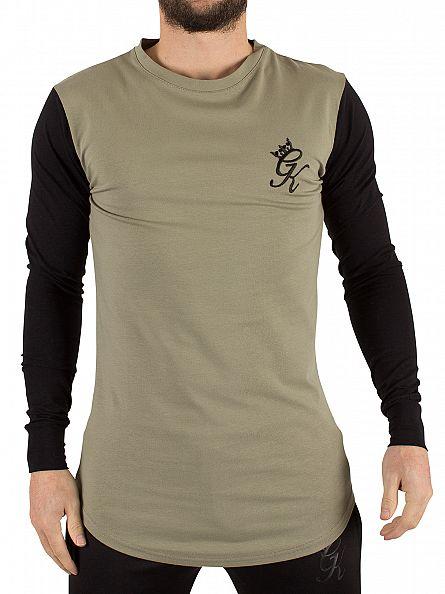 Gym King Vetiver/Black Longsleeved Contrast Raglan Logo T-Shirt