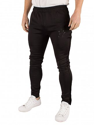 Gym King Black Poly Tech Logo Track Joggers