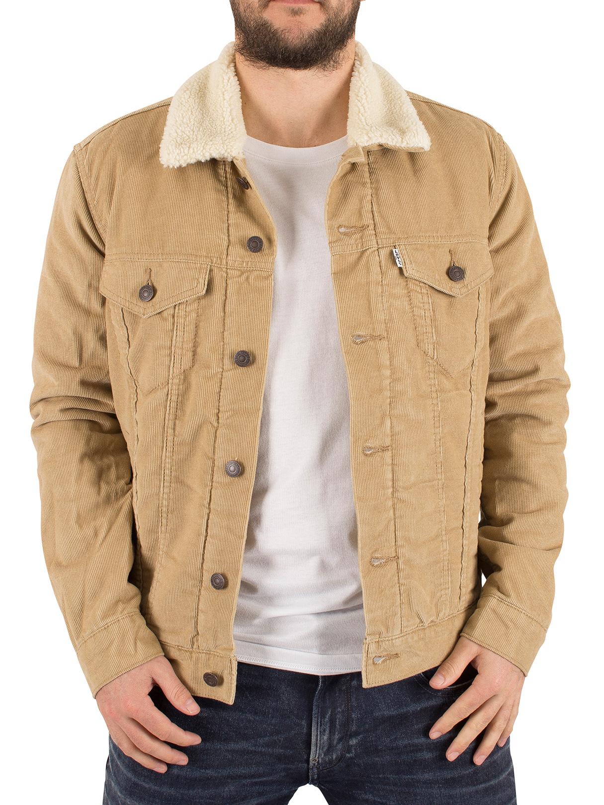 levi 39 s men 39 s good chino sherpa trucker jacket beige ebay. Black Bedroom Furniture Sets. Home Design Ideas