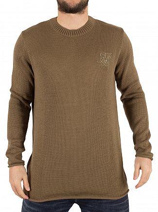 Sik Silk Khaki Raw Edge Ribbed Neck Logo Knit