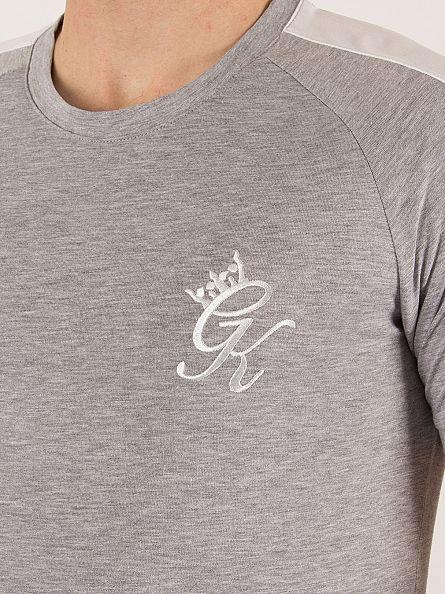 Gym King Grey Marl Long Line Retro Curved Hem Logo T-Shirt
