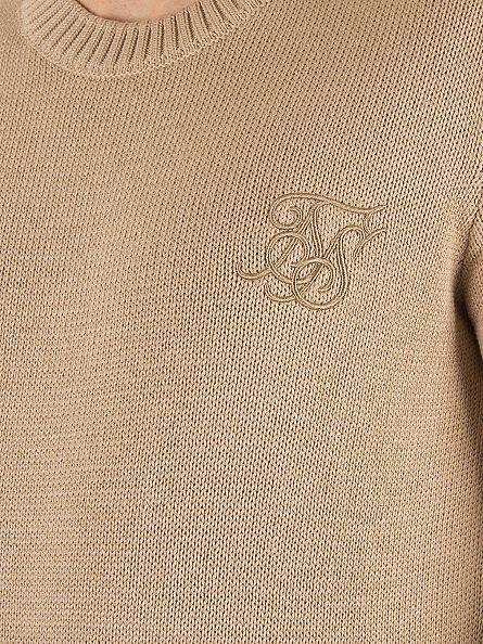Sik Silk Stone Raw Edge Ribbed Neck Logo Knit