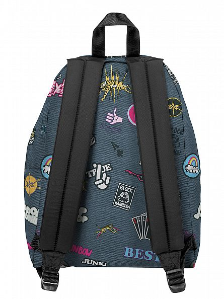 Eastpak Grey Padded PakR All Patched Logo Backpack