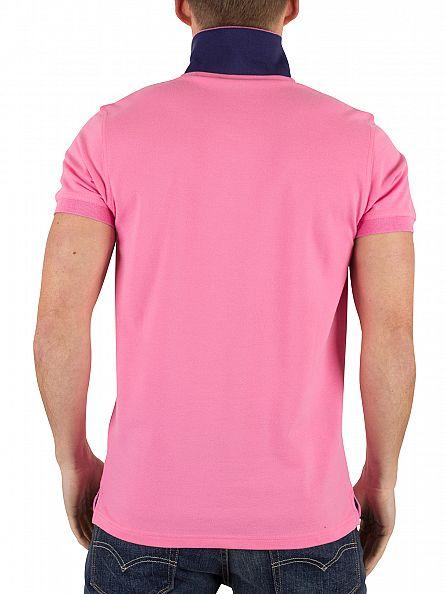 Gant Lipstick Pink Contrast Collar Pique Logo Polo Shirt