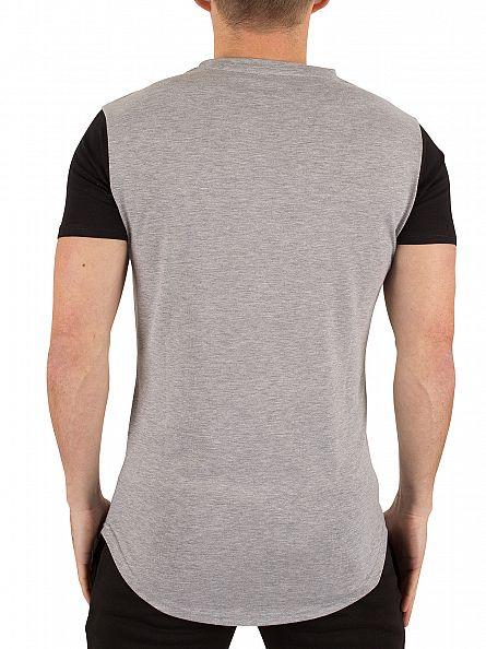 Gym King Grey Marl/Black Contrast Curved Hem Logo T-Shirt