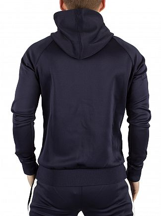 Gym King Navy/White Poly Tech Logo Track Zip Hoodie