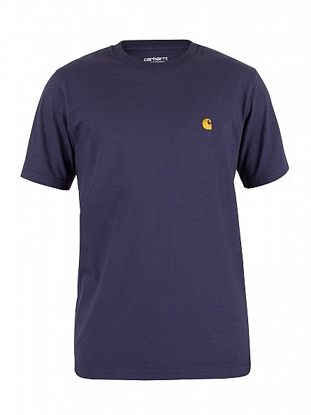 Carhartt WIP Blue/Gold Loose Fit Chase Logo T-Shirt