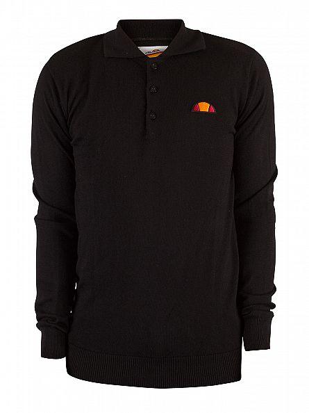 Ellesse Anthracite Longsleeved Manfredi Logo Polo Shirt Knit