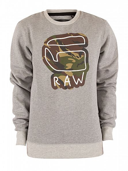 G-Star Grey Heather Cheldan Camo Graphic Sweatshirt
