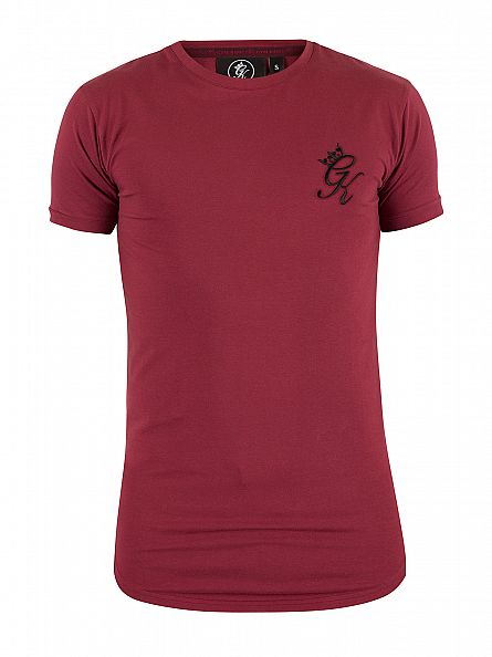 Gym King Cordovan Longline Curved Hem Logo T-Shirt