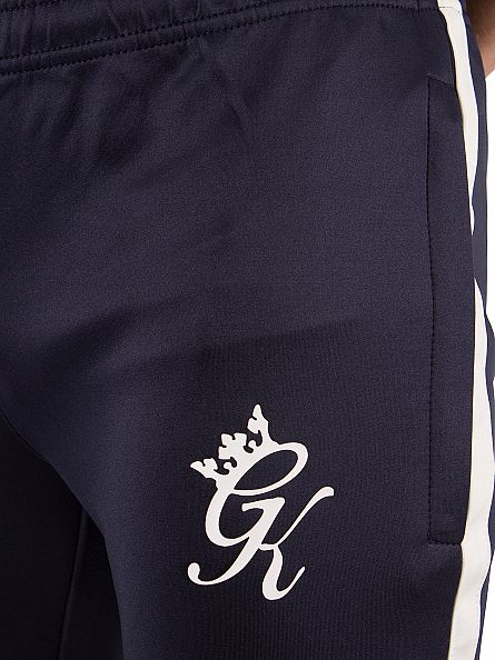 Gym King Navy/White Poly Tech Logo Track Joggers
