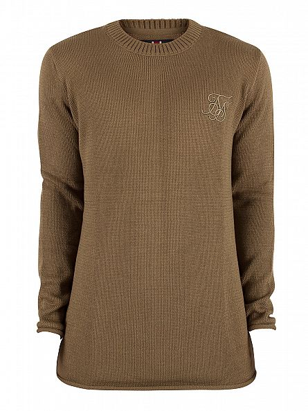 Sik Silk Khaki Raw Edge Ribbed Neck Logo Knit