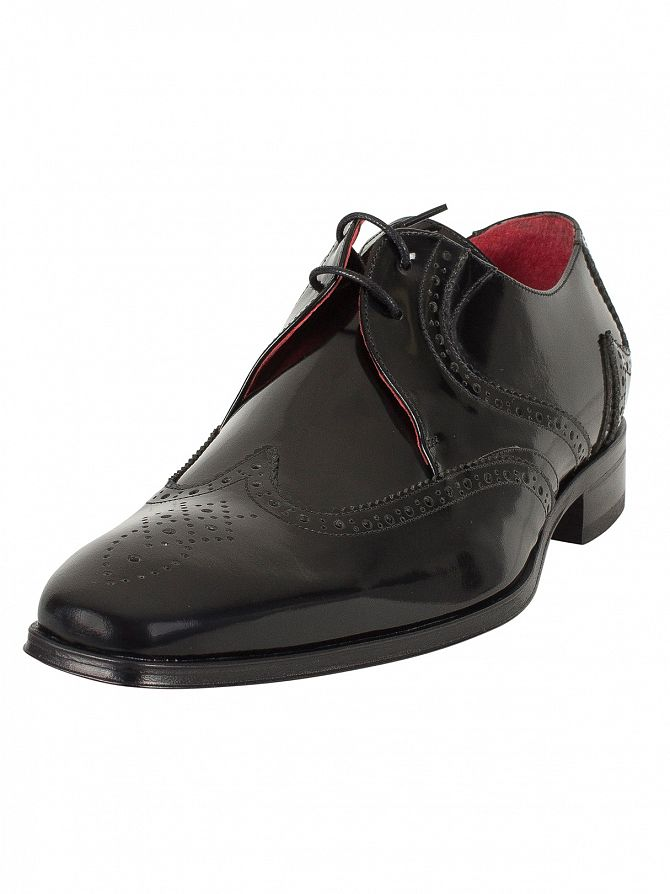 Jeffery West College Black Red Polished Shoes