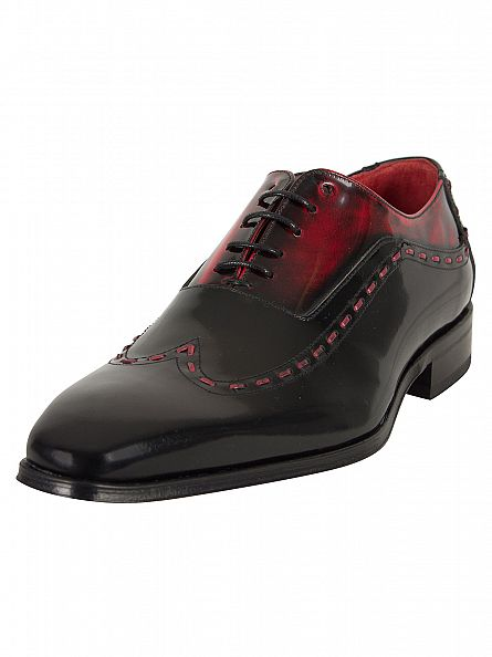 Jeffery West Black/Red Stitched Polished Shoes