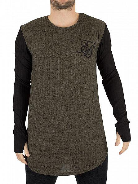 Sik Silk Khaki Longsleeved Contrast Sleeve Logo Rib Knit T-Shirt
