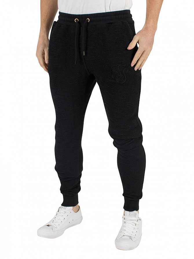 Sik Silk Black Reverse Flannel Textured Logo Joggers