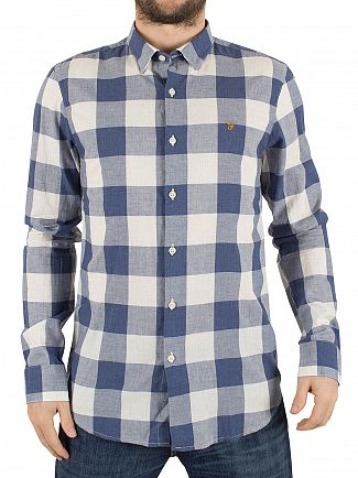 Farah Vintage Regatta Blue Cheadle Slim Fit Checked Logo Shirt