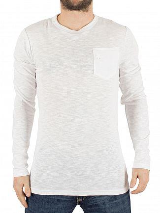 G-Star White Classic Longsleeved Slim Fit Pocket T-Shirt
