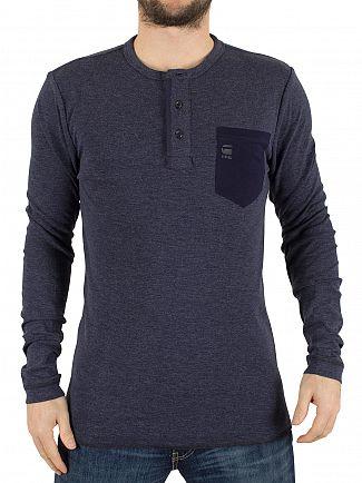 G-Star Dark Police Blue Slim Fit Longsleeved Granddad Pocket T-Shirt