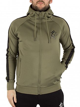 Gym King Khaki Tech Track Zip Logo Hoodie