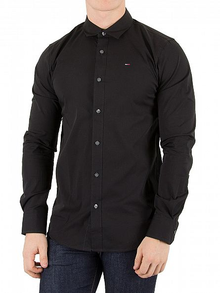 Tommy Hilfiger Denim Black Original Slim Fit Logo Shirt