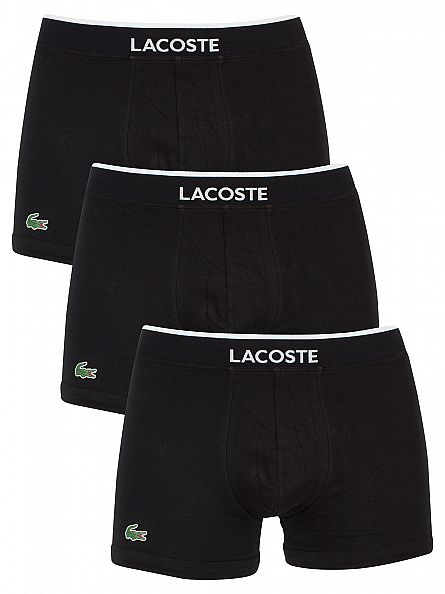 Lacoste Black 3 Pack Cotton Stretch Logo Trunks
