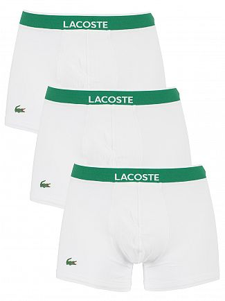 Lacoste White 3 Pack Cotton Stretch Logo Trunks