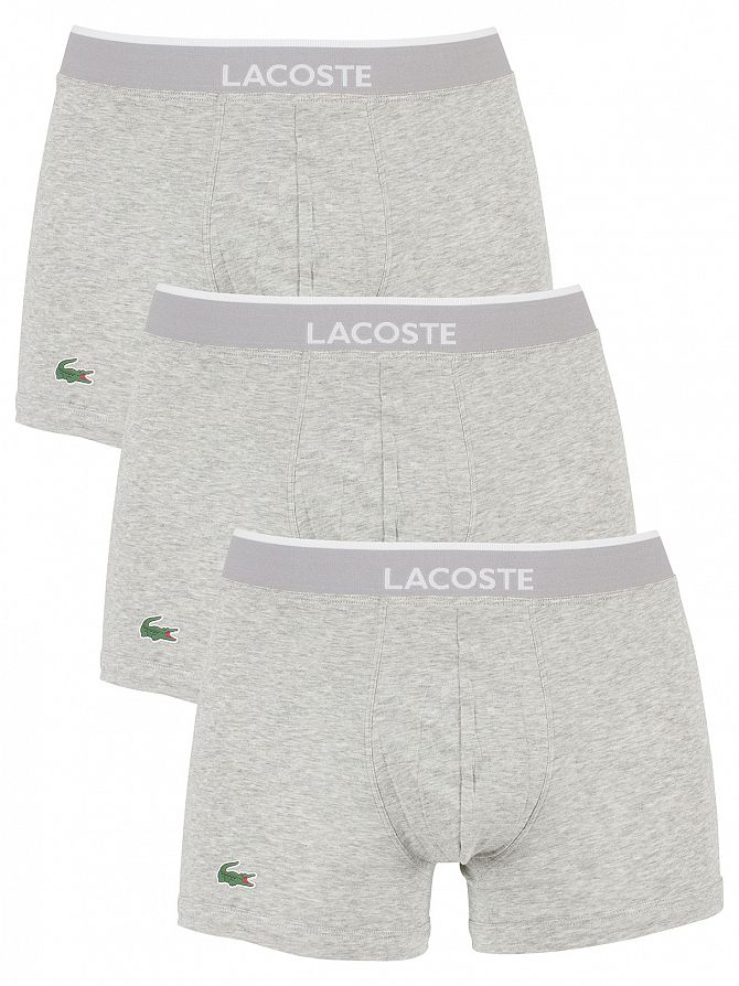 Lacoste Grey Melange 3 Pack Cotton Stretch Logo Trunks
