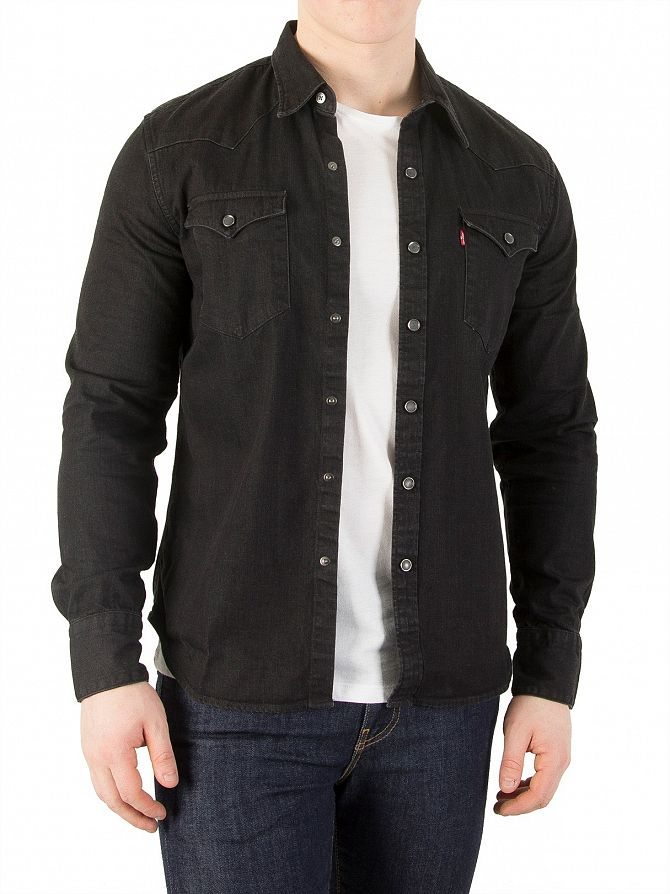 Levi 39 S Black Barstow Western Pocket Shirt Stand Out
