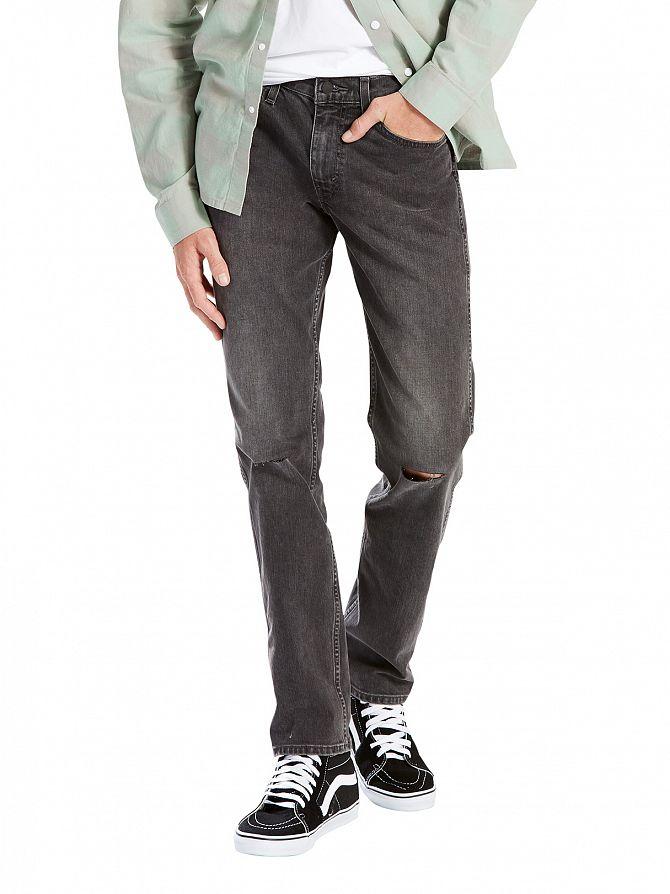 Levi's Charcoal Line 8 Slim Straight Mid Grey Destruction Jeans