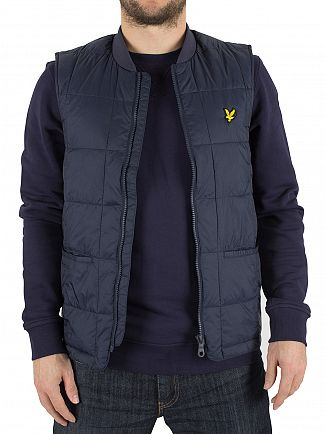 Lyle & Scott Navy Quilted Logo Gilet
