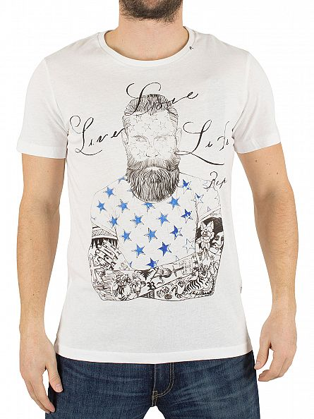 Replay White Live Life Graphic T-Shirt