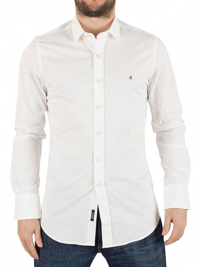 Replay White Slim Fit Curved Hem Logo Shirt