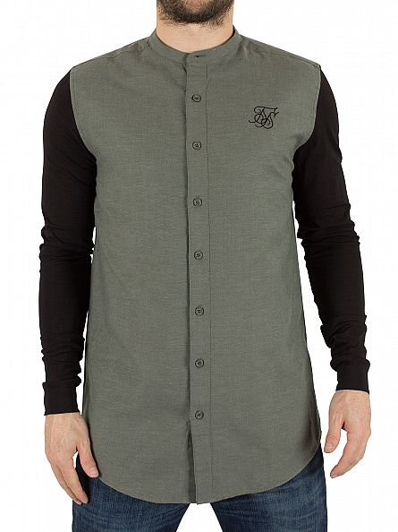 Sik Silk Khaki/Black Jersey Long Sleeve Contrast Shirt